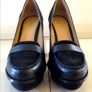 Nine West Black rounded toe leather heels